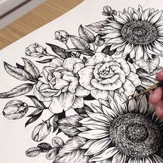 Peony flower tattoo, sunflower tattoo, tattoo drawing