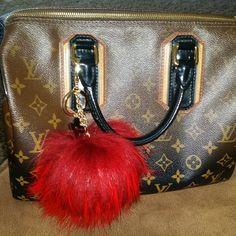 From YogaStudio55 on Etsy: Fur Pom Pom Keychain Bag Charm Creative Studio