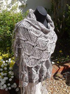 """Etole d'été """"Ananas"""" crochetée en coton gris (ou couleur au choix sur commande) : Echarpe, foulard, cravate par arganie"""