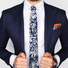"""The Cobalt blue flower tie and Orange paisley ps over the new Herringbone collar-bar shirt What's your thoughts on this look? www.Grandfrank.com"""