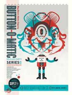 Limited edition 2012 Button-O-Matic series poster created by Delicious Design League.