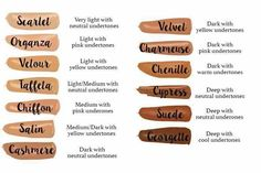 Awesome color guide for our Foundation Line & Skin Perfecting Concealer! All 13 Shades of Younique's Touch Mineral Liquid Foundation including the new three shades released in June 2016 for darker skin...Chenille, Suede & Georgette. #Younique #ClickImageToShop #Questions #EmailMe sarahandbrianyounique@gmail.com