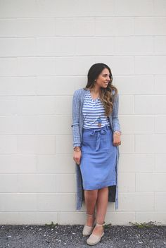teacher outfit, @downeaststyle  blue skirt, blue striped shirt, and espadrille sandals