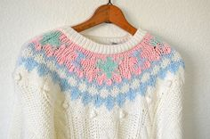 White Fair Isle Sweater Chunky Knit Sweater by TheBraidedBandit