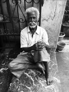Black and white, homeless man, India