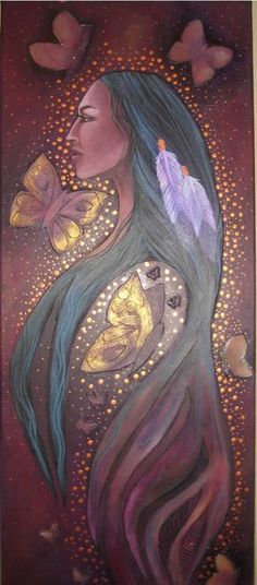 Lady Butterfly - Native American legend has it that if we capture a butterfly and whisper a wish to her she will carry it to the Great Spirit. By setting the butterfly free we show respect for the balance of nature and the wish will surely be granted. Art Magique, Native American Legends, Native American Paintings, Indian Paintings, Art Paintings, Aboriginal Artists, Mystique, American Indian Art, Indigenous Art