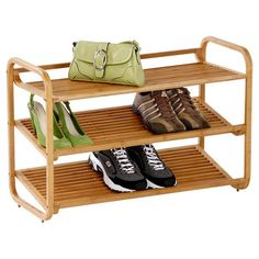 Wood shoe shelf with a natural bamboo finish and 3 tiers with a slatted design.         Product: Shoe shelf    Constructi...