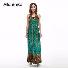 Ailunsnika Sleeveless V Neck Bohemian Maxi Dress Peacock Print 2017 Summer  Women Halter Long Chiffon Plus 31adcf7a9b