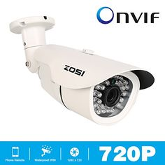 ZOSI 1.0MP 720P(1280720) HD outdoor Bullet IP ONVIF 2.4 Camera waterproof 100ft IR night vision Support smart mobile phone view android iphone