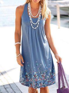 09c22a62dec Popular Floral-Print Round Neck Sleeveless Loose Midi Dress