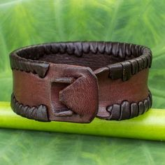 Men's Fair Trade Leather Wristband Bracelet - Thai Wrap   NOVICA