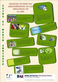 Cuida el medio ambiente. Decálogo de buen uso medioambiental en las bibliotecas de la UMA.