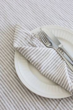 Natural linen cloth napkins handmade from stonewashed striped linen set of 12 Linen Tablecloth, Linen Napkins, Cloth Napkins, Napkins Set, Linen Cloth, Linen Fabric, Linen Duvet, Striped Linen, Color Stripes