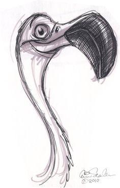 The Ol Sketchbook: Pink Cool Art Drawings, Bird Drawings, Pencil Art Drawings, Art Drawings Sketches, Easy Drawings, Drawings Of Animals, Simple Animal Drawings, Cartoon Sketches, Animal Sketches