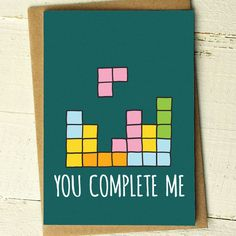 You Complete Me - Funny Love Greeting Cards Complete your loved ones special day with this quirky 80s themed Tetris greetings card. A great card for a boyfriend, girlfriend, husband or wife...especially if they are a gamer! A cute design for an Anniversary, Birthday or Valentines Day! Love our cards? We also have custom packs available in quantities of 3, 5 or 10! This is the link to our 3 pack of Funny Illustrated Cards…