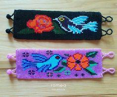 Mexican Beaded Bracelets - Geometric and Birds Pattern - Huichol Art - Romea Accessories - Jewelry by RomeaAccessories on Etsy #huichol #art #bracelets #birds #flower #geometric #moda #fashion