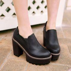 Round Toe Women Pumps High Heels Platform Shoes 7813