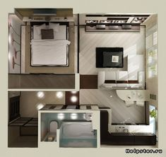 studio apartment floor plan design We feature 50 studio apartment plans in perspective. For those looking for small space apartment plans, your search ends here. Layouts Casa, House Layouts, Tiny Spaces, Small Apartments, College Apartments, Studio Apartment Floor Plans, Garage Studio Apartment, Studio Floor Plans, Basement Apartment