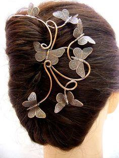 Epingle à cheveux papillons – Elemiah Delecto, bijoux de cheveux artisanaux, accessoires coiffure chignon mariage