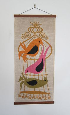 1960's Linen Birds and Cage MidCentury Modern by VestalVintage