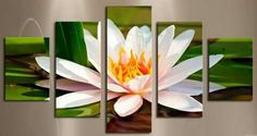 Buy 5 Pieces White Flowers Modern Home Wall Decor Canvas picture Art HD Print Painting Canvas art Unframed at Home - Design & Decor Shopping Canvas Artwork, Canvas Frame, Canvas Art Prints, Painting Canvas, Art Deco, Panel Art, Canvas Pictures, Home Wall Decor, Yellow Flowers