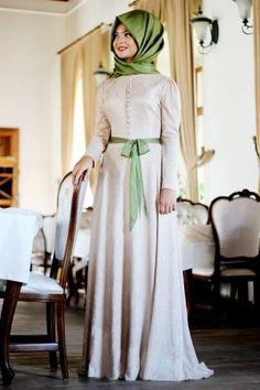 Pınar Şems - Laminasyon Elbise Pudra