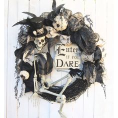 Halloween wreath, Steampunk Skeleton Halloween Wreath, Enter if you... ($230) ❤ liked on Polyvore featuring home, home decor, holiday decorations, fall home decor, halloween home decor, fall wreaths, halloween wreaths and autumn wreath
