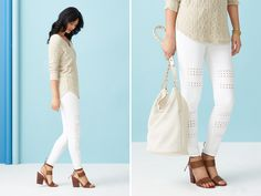 (Actually, I love this sweater a lot more than the jeans!) We've been wearing DIY distressed jeans for decades (that's a fashion given), but intricate cut-out details like these take that denim to the next level. White Denim, White Pants, Diy Distressed Jeans, Cut Out Jeans, Cool Outfits, Fashion Outfits, Stitch Fix Outfits, Stitch Fix Stylist, Trending Now