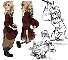 Some sketches of Valkari as an assistant blacksmith. Also messing with sketching/drawing with different brushes