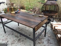 Handmade rustic coffee table made from reclaimed wood by WorkHands