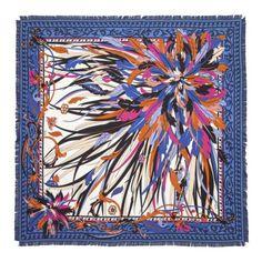 Emilio Pucci Scarves Sunburst Silk Scarf In Blue & Multicolor (=) Beautiful Scarves, Geometric Pattern Design, Fashion Scarves, Scarf Design, Silk Painting, Emilio Pucci, Silk Scarves, Scarf Styles, Womens Scarves