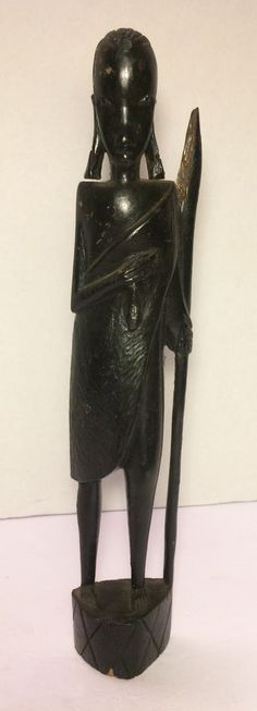 Vintage hand carved ebony wood African woman figurine, Kenya ...