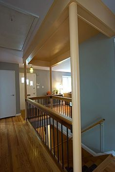 We opened up this on all sides, connecting the basement to the living room. (Keep stairs in same spot just open them) Kitchen Under Stairs, Open Basement Stairs, Basement Steps, Open Stairs, Basement Kitchen, Coastal Living Rooms, House Stairs, Staircase Design, Staircase Ideas
