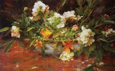 PEONIES by Richard Schmid  Lithograph available at: www.RichardSchmid.com #flowers #daffodils #spring