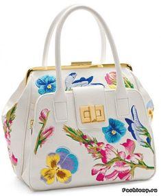 8d66327d21 Braccialini White Italian Leather Handbag with Floral Embellishments -  Handmade Designer Bags  braccialini  couture