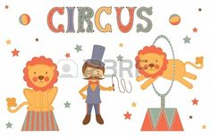 Illustration of tamer and lions performing in circus