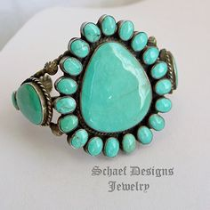 Old Pawn Zuni Cluster satellite Turquoise Cuff bracelet | Schaef Designs Southwestern turquoise Jewelry | Schaef Designs | New Mexico