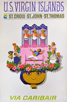 Virgin Islands by Caribair vintage travel poster Vintage Beach Posters, Vintage Ads, Vintage Airline, Vintage Images, Airline Travel, Travel Usa, Air Travel, Us Virgin Islands, Poster Ads