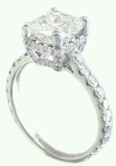 """18k white gold cushion cut diamond engagement ring art decor prongs 2.25ctw---$8,615.00"" --from listing"