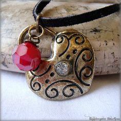 Valentine Heart Locket ooak Red Swarovski by RainwaterStudios, $18.00