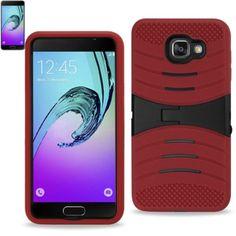 Reiko Samsung Galaxy A3(2016) Hybrid Heavy Duty Anti Slip Case ( Silicon Case+Protector Cove) With Kickstand-Red Black