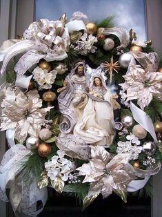 """""""HOLY FAMILY"""" XXL Elegant Luxe  Christmas Wreath"""