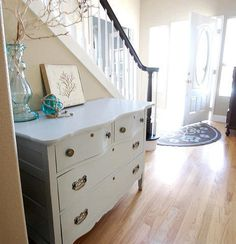 Dresser in the hallway or as a buffet table in the dining room- extra storage for table linens and serving dishes