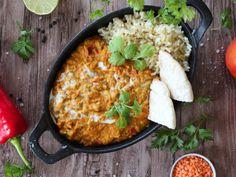 Vöröslencse curry - GreenChili-Vegan Blog Vegan Vegetarian, Vegetarian Recipes, Clean Eating, Frozen Yoghurt, Chicken Bacon Ranch, Curry, Vegan Blogs, Lunch, Snacks