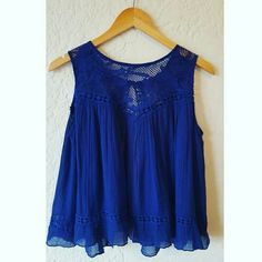 Free People Top Cobalt blue semi-sheer Free People flowy top with open back - Good Condition Free People Tops Tank Tops