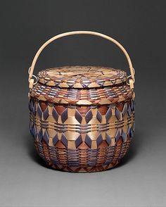 Lidded Basket-Date: ca. 1940 Geography: United States, Wisconsin Culture: Winnebago Medium: Ash splint, wood, pigment