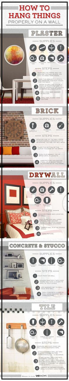 How to hang things on different wall types - Art Guide - House Design Guide #repin