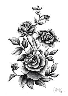 Black and white print of original illustration art poster roses 11.7 x 8.3