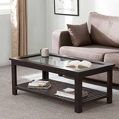 Claire Coffee Table (Mahogany Finish, Large Size) by Urban Ladder Centre Table Design, Sofa Table Design, Coffee Table Design, Glass Wood Table, Glass Top Coffee Table, Centre Table Living Room, Center Table, Home Decor Furniture, Sofa Furniture