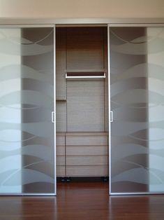& & & & Doors to the walk-in closet. Kitchen Sliding Doors, Glass Closet Doors, Sliding Glass Door, Wardrobe Door Designs, Wardrobe Doors, Closet Behind Bed, Art Deco Door, Corner Wardrobe, Swing Arm Wall Lamps